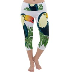 Tropical Birds Capri Yoga Leggings