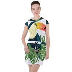 Tropical Birds Drawstring Hooded Dress