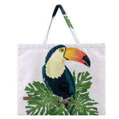 Tropical Birds Zipper Large Tote Bag