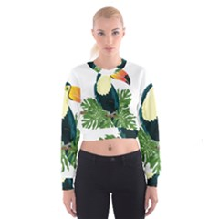 Tropical Birds Cropped Sweatshirt