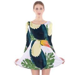 Tropical Birds Long Sleeve Velvet Skater Dress