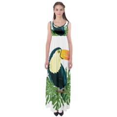 Tropical Birds Empire Waist Maxi Dress