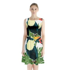 Tropical Birds Sleeveless Waist Tie Chiffon Dress