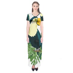 Tropical Birds Short Sleeve Maxi Dress