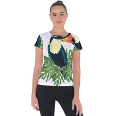 Tropical Birds Short Sleeve Sports Top  by Alisyart