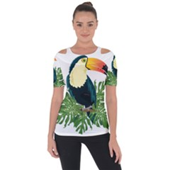 Tropical Birds Shoulder Cut Out Short Sleeve Top