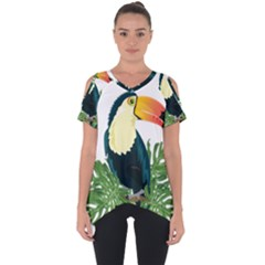 Tropical Birds Cut Out Side Drop Tee