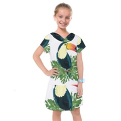 Tropical Birds Kids  Drop Waist Dress