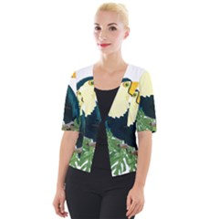 Tropical Birds Cropped Button Cardigan
