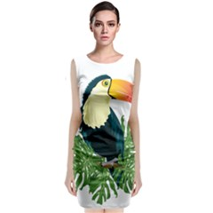 Tropical Birds Sleeveless Velvet Midi Dress