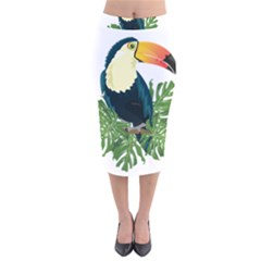 Tropical Birds Velvet Midi Pencil Skirt