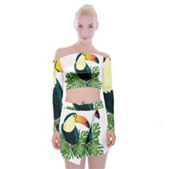 Tropical Birds Off Shoulder Top With Mini Skirt Set