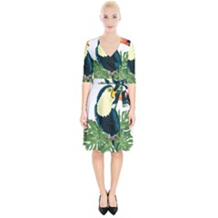 Tropical Birds Wrap Up Cocktail Dress