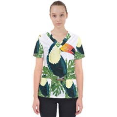 Tropical Birds Women s V Neck Scrub Top