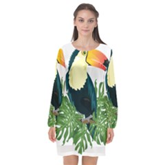 Tropical Birds Long Sleeve Chiffon Shift Dress
