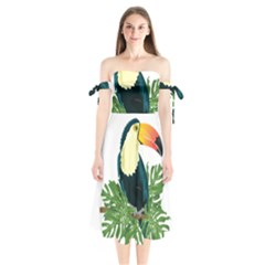 Tropical Birds Shoulder Tie Bardot Midi Dress by Alisyart