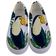 Tropical Birds Kids  Canvas Slip Ons