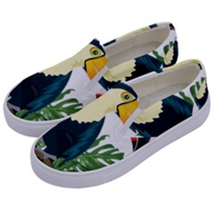 Tropical Birds Kids  Canvas Slip Ons by Alisyart