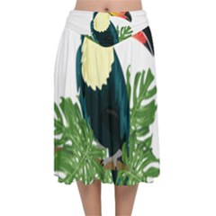Tropical Birds Velvet Flared Midi Skirt