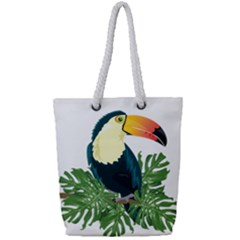 Tropical Birds Full Print Rope Handle Tote (small)