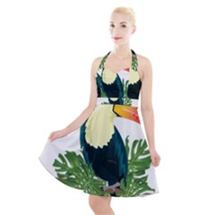 Tropical Birds Halter Party Swing Dress