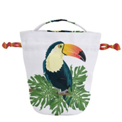Tropical Birds Drawstring Bucket Bag