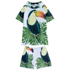 Tropical Birds Kids  Swim Tee And Shorts Set