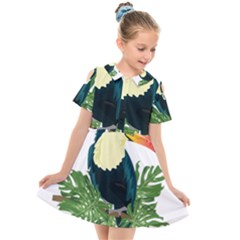Tropical Birds Kids  Short Sleeve Shirt Dress