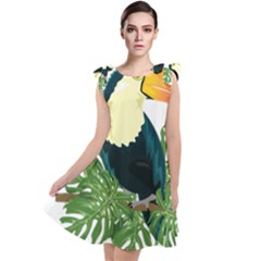 Tropical Birds Tie Up Tunic Dress