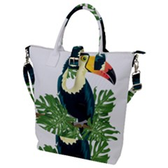 Tropical Birds Buckle Top Tote Bag