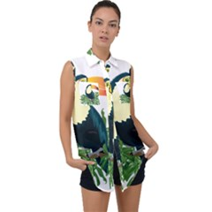 Tropical Birds Sleeveless Chiffon Button Shirt