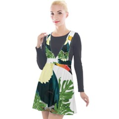 Tropical Birds Plunge Pinafore Velour Dress