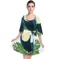 Tropical Birds Velour Kimono Dress