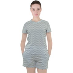 Vintage Pattern Chevron Women s Tee And Shorts Set