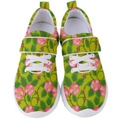 Roses Flowers Pattern Bud Pink Women s Velcro Strap Shoes