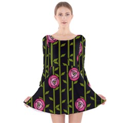 Rose Abstract Rose Garden Long Sleeve Velvet Skater Dress