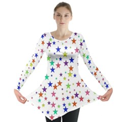 Star Random Background Scattered Long Sleeve Tunic