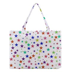 Star Random Background Scattered Medium Tote Bag by Pakrebo