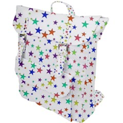 Star Random Background Scattered Buckle Up Backpack by Pakrebo