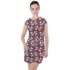 Pattern Abstract Fabric Wallpaper Drawstring Hooded Dress