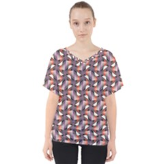 Pattern Abstract Fabric Wallpaper V Neck Dolman Drape Top