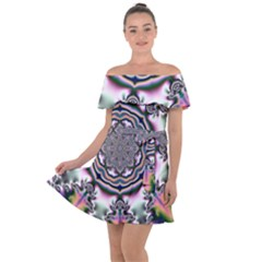 Pattern Abstract Background Art Off Shoulder Velour Dress
