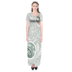 Peisles Pattern Module Design Short Sleeve Maxi Dress