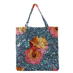 Pattern Rose Yellow Background Grocery Tote Bag