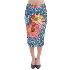 Pattern Rose Yellow Background Velvet Midi Pencil Skirt