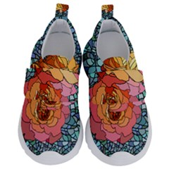 Pattern Rose Yellow Background Kids  Velcro No Lace Shoes by Pakrebo