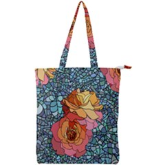 Pattern Rose Yellow Background Double Zip Up Tote Bag