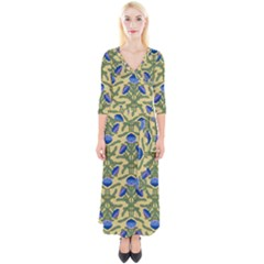 Pattern Thistle Structure Texture Quarter Sleeve Wrap Maxi Dress