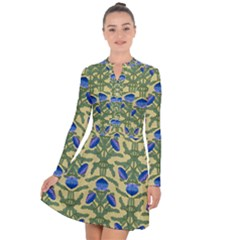 Pattern Thistle Structure Texture Long Sleeve Panel Dress