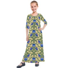 Pattern Thistle Structure Texture Kids  Quarter Sleeve Maxi Dress by Pakrebo